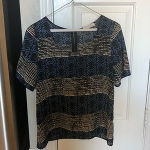 The Impeccable Pig Tops - Impeccable Pig Short-Sleeve Blue-patterned Blouse